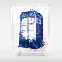 tardis Shower Curtains featuring Tardis by lauramaahs