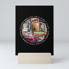 Times Square New York City (badge emblem on black) Mini Art Print