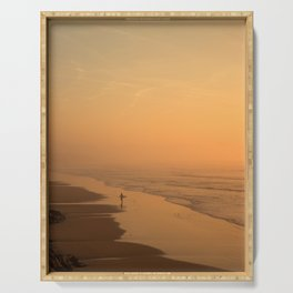Sunset in the beach in Biarritz Serving Tray