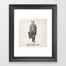 The Man Guitar Cat Framed Art Print