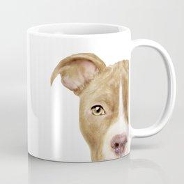 Pitbull light brown Dog illustration original painting print Coffee Mug