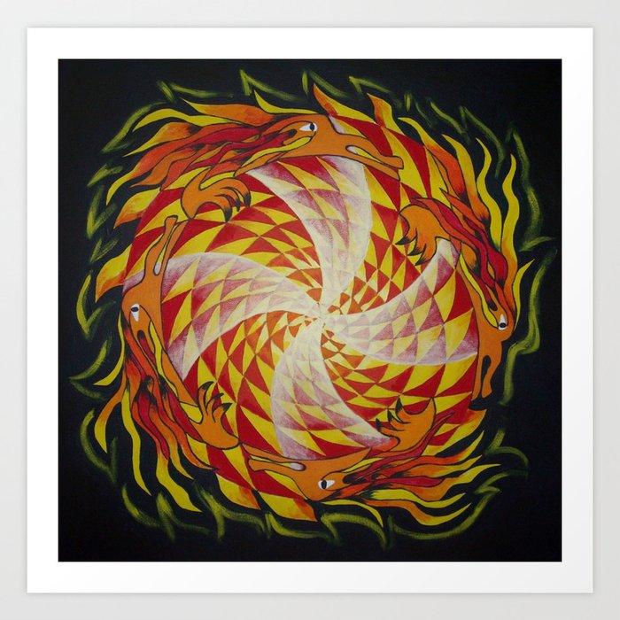 Wheel of Dragons / Draakonikera Art Print