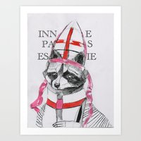 racoon Art Prints featuring Racoon by Black Wolf