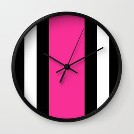 Black, White and Pink Vertical Stripes Wall Clock