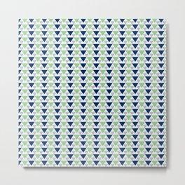 Triangle Navy aquamarine pattern Metal Print