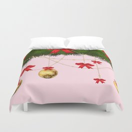 RED RIBBONS GOLD ORNAMENTS HOLIDAY PINK DESIGN ART Duvet Cover