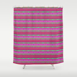 Aztec Tribal Motif Pattern in Pink, Lime and Fuchsia Shower Curtain