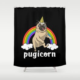 Pug Dog Unicorn Pugicorn Shower Curtain