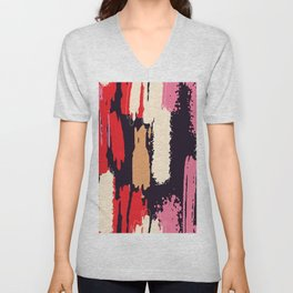 Abstract Brushstrokes in Pink and Red Unisex V-Neck