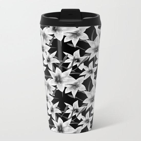 White lilies on a black background . Metal Travel Mug