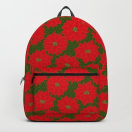 Festive Florals - Red Poinsettia on Green Backpack