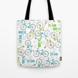 Watercolor Blue and Green Bikes Tote Bag