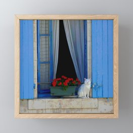Window cat Framed Mini Art Print