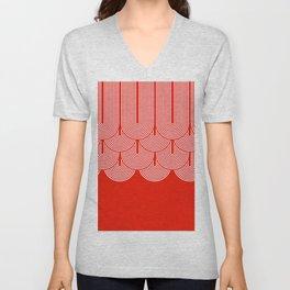 Red shapes pattern Unisex V-Neck