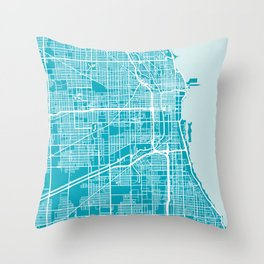 Chicago Map | Aqua | More Colors, Review My Collections Art Print Throw Pillow