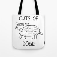 doge Tote Bags featuring CUTS OF DOGE by Yiji