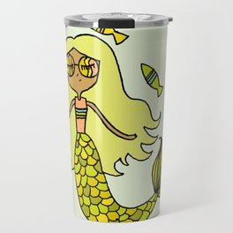 pisces mermaid life zodiac art by surfy birdy Travel Mug