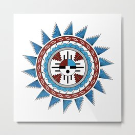 Southwest Native American Art Mandala Metal Print