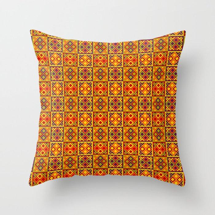 Heart of Africa Kente Cloth Pattern Print Throw Pillow