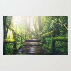 Green Jungle Forest Path Rug