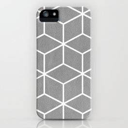 Light Grey and White - Geometric Textured Cube Design iPhone Case