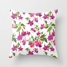 April blooms IV - Fuchsia White Throw Pillow