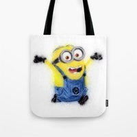 minion Tote Bags featuring Minion by KitschyPopShop