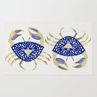 crab Area & Throw Rugs featuring Crab – Navy & Gold by Cat Coquillette
