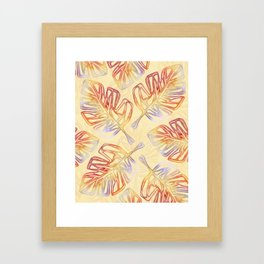 Autumn Leaves on Buttercream - from the Lilac Buttercup colour palette collection Framed Art Print