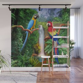 Macaw Tropical Parrots Wall Mural