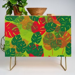monstera green red Credenza
