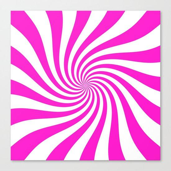 Swirl (Hot Magenta/White) Canvas Print
