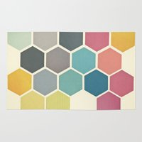 cassia beck Area & Throw Rugs featuring Honeycomb II by Cassia Beck