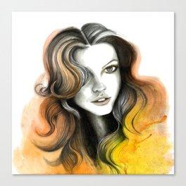 Yellow and Orange Flame Hair Canvas Print