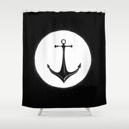 Anchor Point (white on black) Shower Curtain