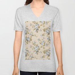 Ivory gray white gold glitter country boho floral Unisex V-Neck
