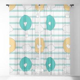 cute lovely cartoon hot air balloons pattern illustration Sheer Curtain
