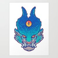 foo fighters Art Prints featuring Blue Foo by missmonster