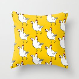 Two Headed Chicken Repeat Pattern Throw Pillow