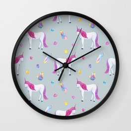 Unicorn and magic stones, watercolor pattern Wall Clock