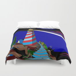 A Night at the Lighthouse with Search Light Active Duvet Cover