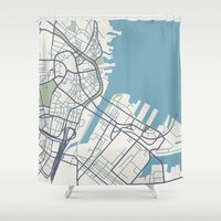 boston map Shower Curtains featuring Boston Map by Sophie Calhoun