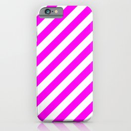 Diagonal Stripes (Magenta & White Pattern) iPhone Case