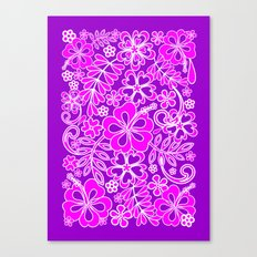 Hibiscus Pink and Purple Pattern Canvas Print