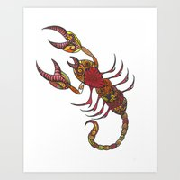 tatoo Art Prints featuring Tatoo Scorpion by PepperDsArt