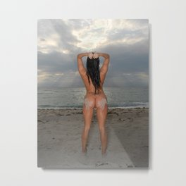 9524-SS Naked Woman Nude Beach Sand Surf Sandy Handprint Big Breasts Long Black Hair Sexy Erotic Art Metal Print