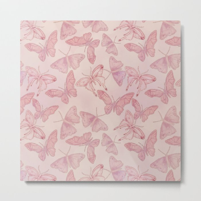Butterfly Pattern soft pink pastel Metal Print