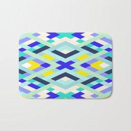 Smart Diagonals Cyan Bath Mat