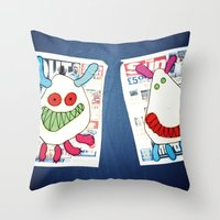 newspaper Throw Pillows featuring Newspaper graffiti by very giorgious