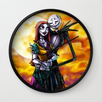 jack skellington Wall Clocks featuring Jack Skellington With Sally Figurine by Andrian Kembara